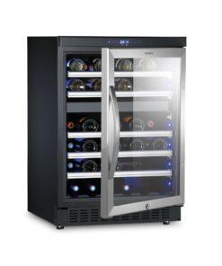 DOMETIC MaCave D50, 2 Zonen Wein-Kühlschrank für 46 Flaschen, Weintemperierschrank +5 °C bis +22 °C, Wein-Klimaschrank, Edelstahl-UV-Glastür