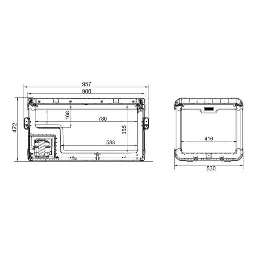 DOMETIC CoolFreeze CFX 100 W mobile Kompressor-Kühlbox /Gefrierbox A+ - Abmessungen