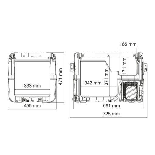 Abmessunge, Maße, Dometic CoolFreeze CFX 50W Tragbare Kompressorkühl- und -gefrierbox