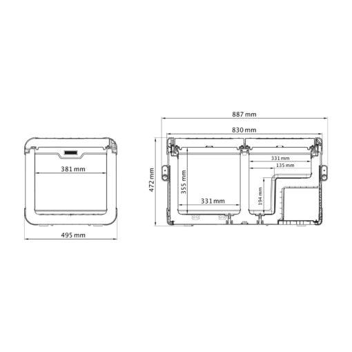 Dometic CoolFreeze CFX 75DZW Mobile Zweizonen-Kompressorkühl- und -gefrierbox Abmessungen