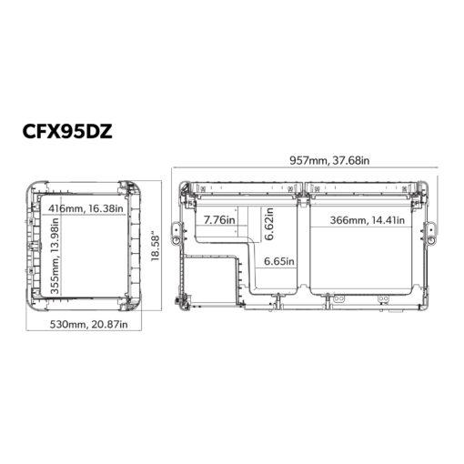 Dometic Coolfreeeze CFX 95DZW mobile Zweizonen-Kompressorkühl- und Gefrierbox - Abmessungen, Maße