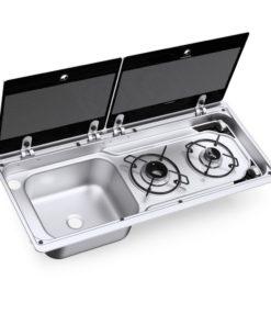 DOMETIC MO 9722L Kombination aus 2-flammigen Kochfeld und Spüle mit Glasdeckel, 760 X 325 mm
